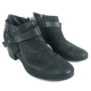 BP Leather Upper Ankle Bootie Straps Block Stacked